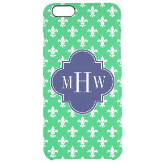 Emerald Wht Fleur de Lis Navy 3 Initial Monogram Clear iPhone 6 Plus Case