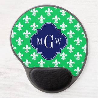 Emerald Wht Fleur de Lis Navy 3 Initial Monogram Gel Mousepads