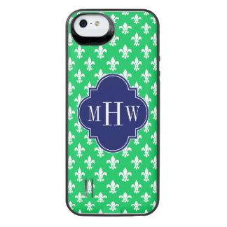 Emerald Wht Fleur de Lis Navy 3 Initial Monogram iPhone SE/5/5s Battery Case