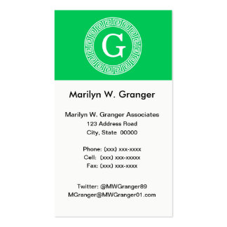 Emerald Wht Greek Key Rnd Frame Initial Monogram Pack Of Standard Business Cards