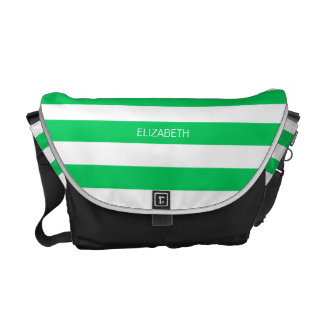 Emerald Wht Horiz Preppy Stripe #3 Name Monogram Courier Bag