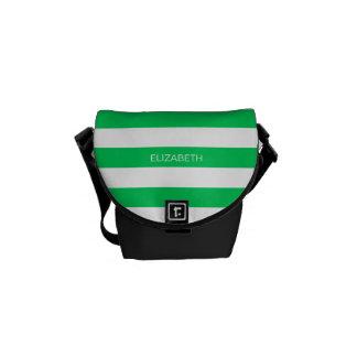 Emerald Wht Horiz Preppy Stripe #3 Name Monogram Courier Bags