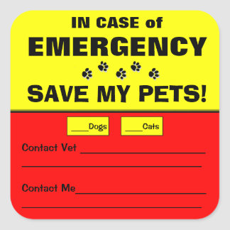 Emergency Alert Save My Pets Stickers