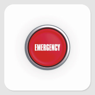 Emergency Button Square Stickers