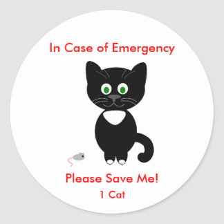 Emergency Cat Sticker/Decal Classic Round Sticker