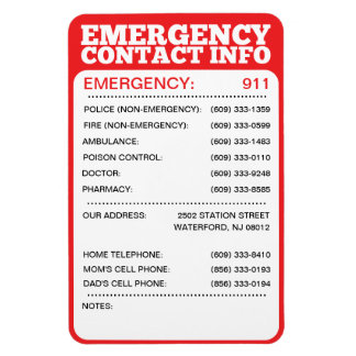 Emergency Contact Information List Rectangular Photo Magnet