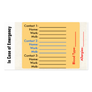 Emergency Contact Purse Cards Business Card Template