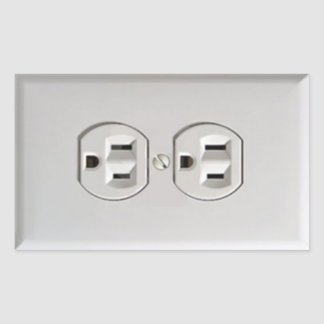 Emergency Electrical Outlet Rectangular Sticker