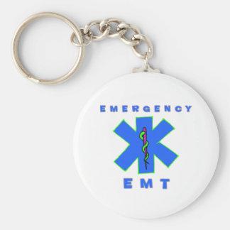 Emergency EMT Basic Round Button Key Ring