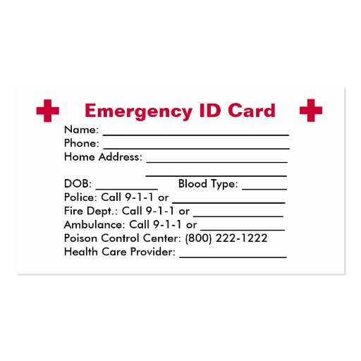 Emergency ID Card Business Card Templates