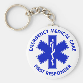 Emergency Medical Care First Responder Basic Round Button Key Ring