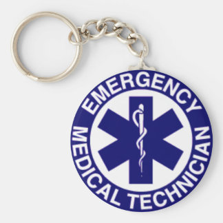 EMERGENCY MEDICAL TECHNICIANS EMT BASIC ROUND BUTTON KEY RING