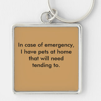 Emergency Pet Awareness Tag for Keychain