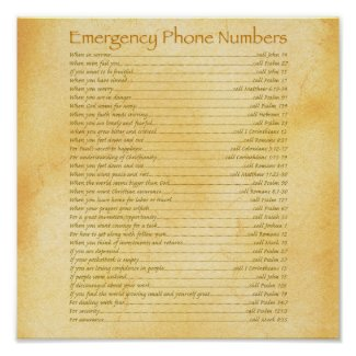 Christian Posters: Emergency Phone Numbers