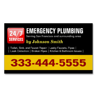 Emergency Plumbing Call - Plumber Fridge Magnet Magnetic Business Cards