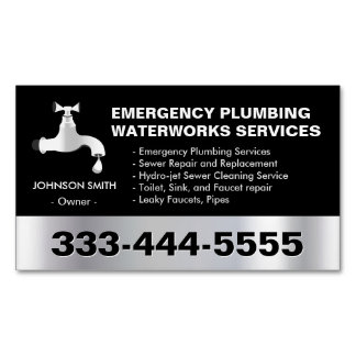 Emergency Plumbing Waterworks Service Black Metal Magnetic Business Cards
