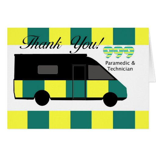 Emergency Services Paramedic and Technician thank Cards