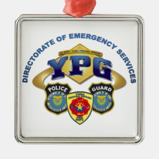 Emergency Services Silver-Colored Square Decoration