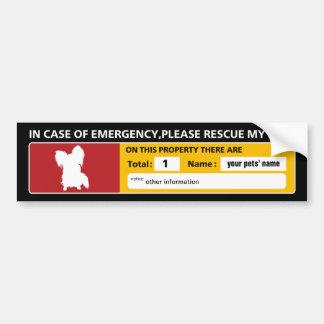 Emergency Sticker (papillon) Bumper Sticker