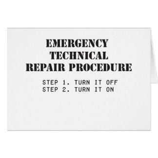 Emergency Technical Repair Procedure Greeting Card