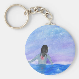 Emerging From The Water Basic Round Button Key Ring