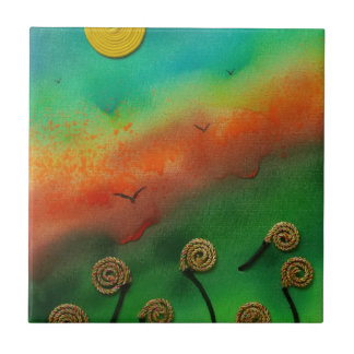 Emerging Snail flowers Small Square Tile