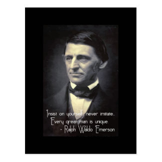 Emerson - Every great man is unique quote postcard