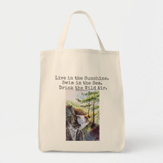 Emerson Nature Watercolor Art Canvas Grocery Tote