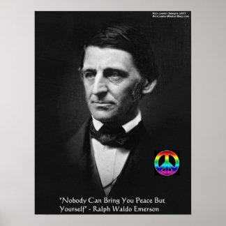 "Emerson ""Peace Yourself"" Wisdom Quote Poster"