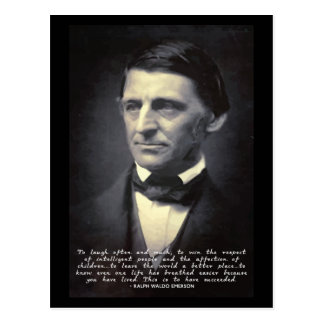 Emerson - success and life quote postcard