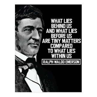 Emerson - What lies within us Quote Postcard