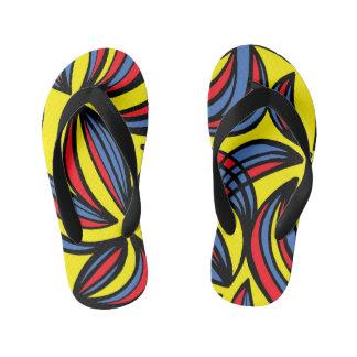 """Emfinger"" Adult Flip Flops Yellow Red Blue Thongs"