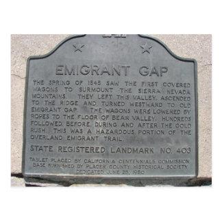 Emigrant Gap History Sign Postcard
