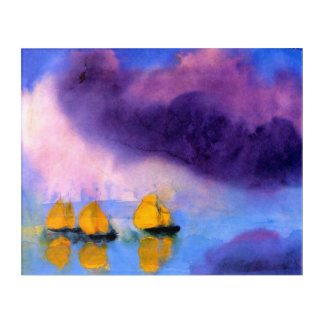 Emil Nolde - Sea with Violet Clouds And Sailboats Acrylic Wall Art