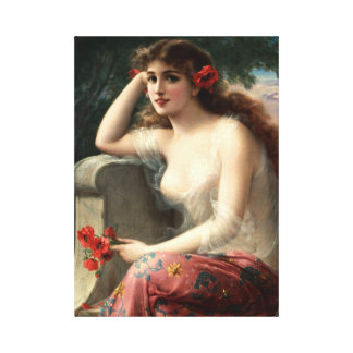 Emile Vernon Girl with a Poppy Canvas Print