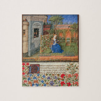 Emilia in the rose garden medieval art jigsaw puzzle