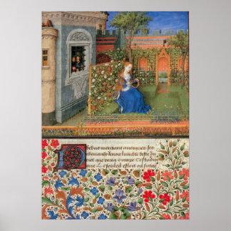 Emilia in the Rosegarden mediaeval illumination Poster