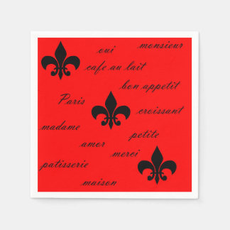 Emilion Paper Napkins Black on Red