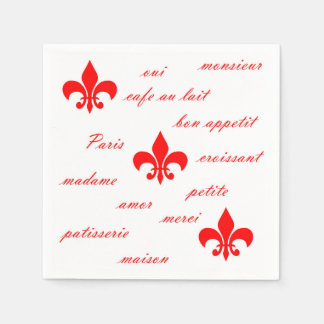 Emilion Paper Napkins Red on White
