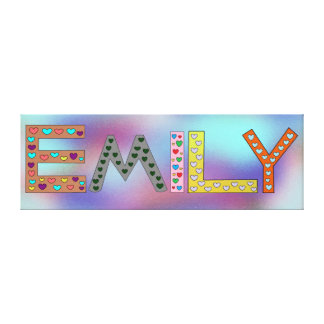 EMILY Colorful Letters Girl's Name Design Canvas Print