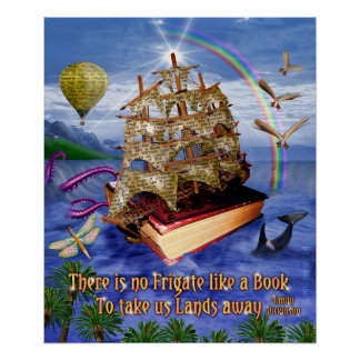 Emily Dickinson Quote There is No Frigate Book Sea Poster