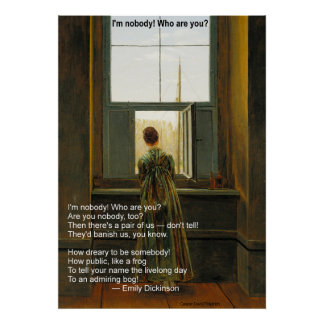 Emily Dickinson's I'm Nobody! Who are you? Poster