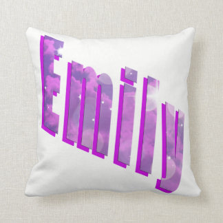 Emily, Girls Name Dimensional Logo White Cushion