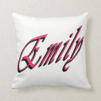 Emily, Girls Name Pink Cursive Logo White Cushion