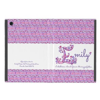 Emily letter E heart and flowers art ipad case