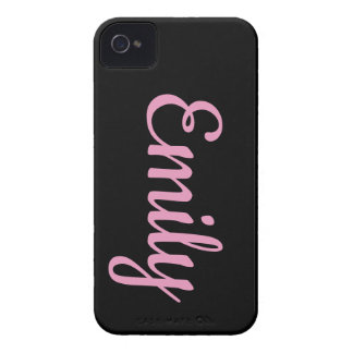 Emily Name iPhone Case - Black & Pink