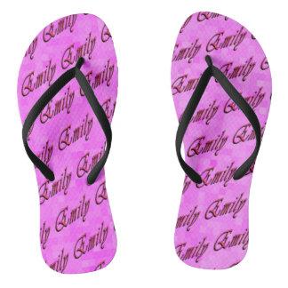 Emily, Name, Logo, On Pink Mosaic Thongs