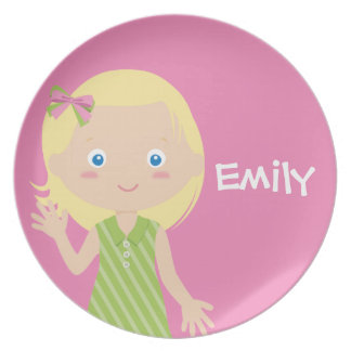 emily | personalised melamine plate for girls