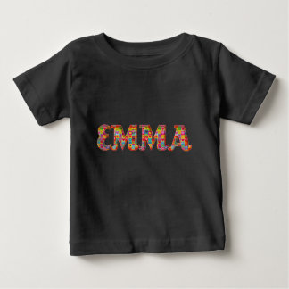 Emma Cute Love Hearts Red Orange Typography Girl Baby T-Shirt