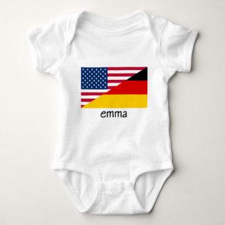emma, german-american flag baby bodysuit